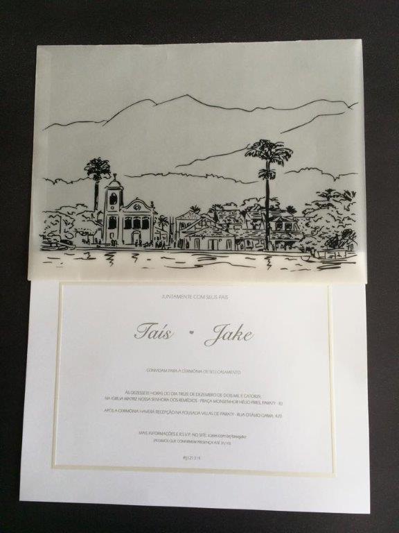 Modelo Toronto e Papel Vegetal 21 x 29 - Personalizado e Desenhado com foto da Igreja da Praia onde casaram os noivos. (1)jpg